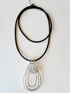 OC Silver Abstract Lasso Convertible Pendant Necklace