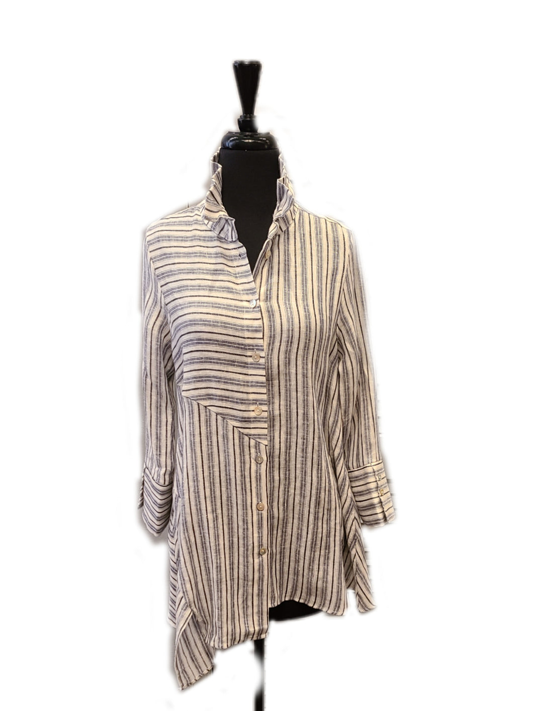 Boho Chic Stripe Linen Uneven Hem Blouse