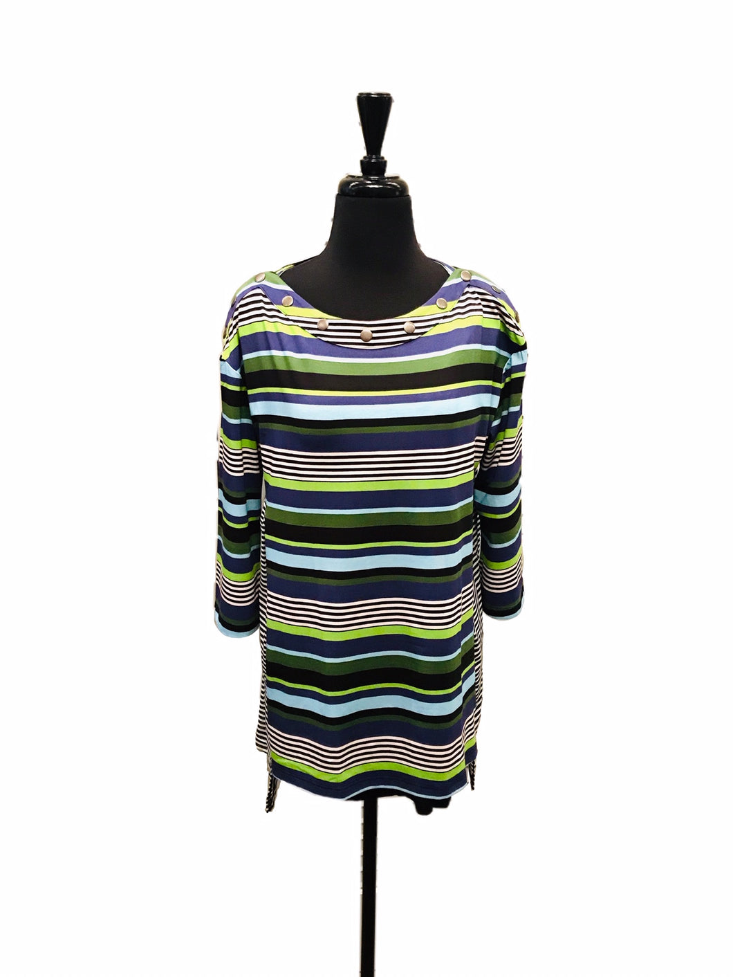 Lynn Ritchie 3/4 Sleeve Boat Neck Stripe Knit Top
