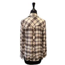 Load image into Gallery viewer, Charlie B Plaid Hi Low Round Hem Blouse