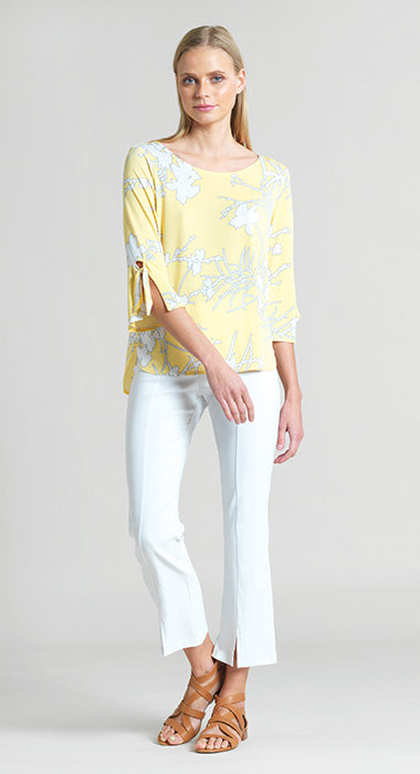 Clara Sun Woo Floral Top With Cuff Tie Detail