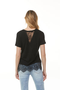 Charlie B Short Sleeve Lace Trim Solid Knit