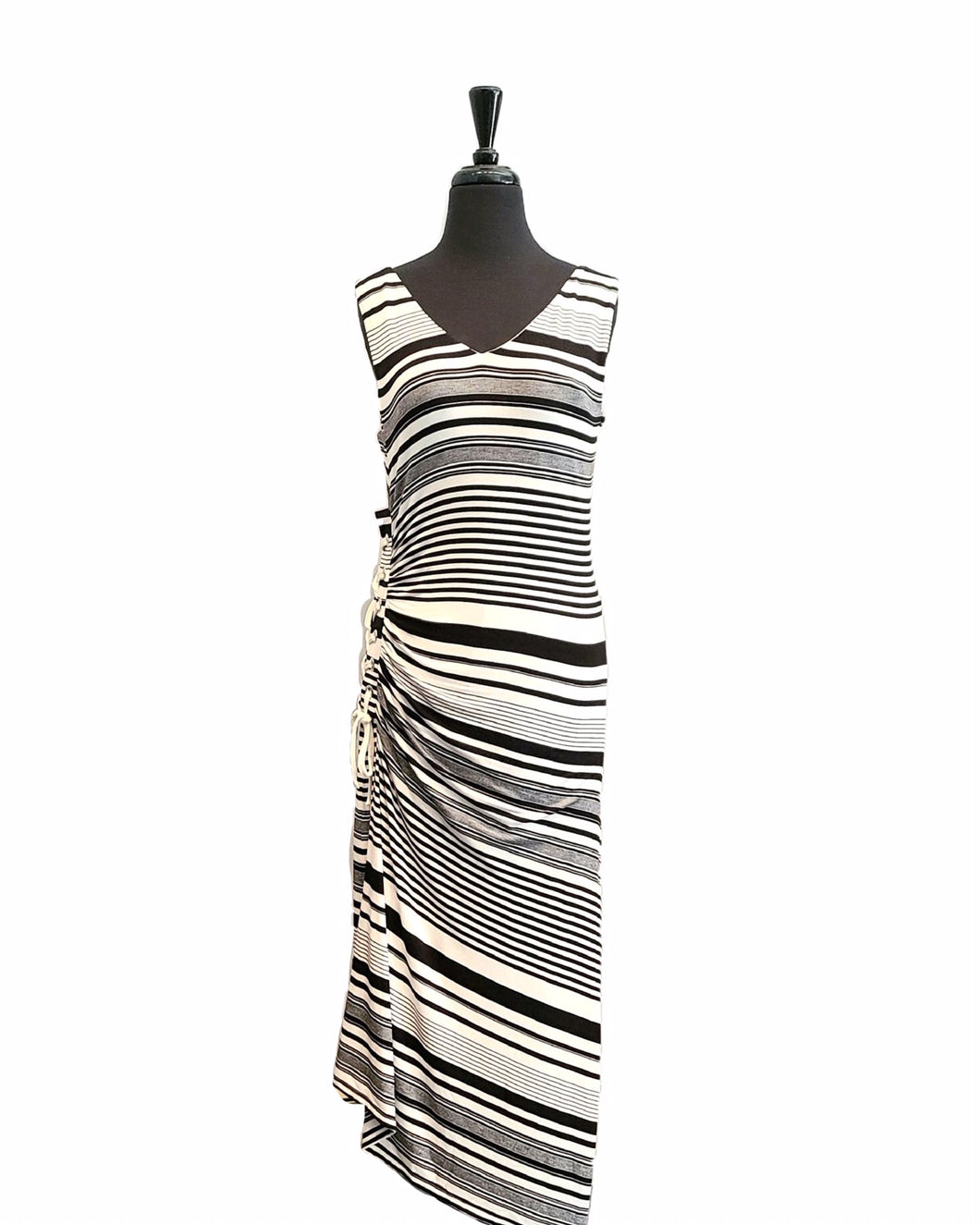 Carre Noir Ruched Stripe Dress