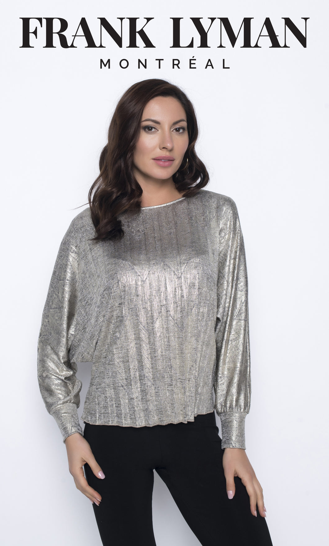 Frank Lyman Pleated Metallic Top