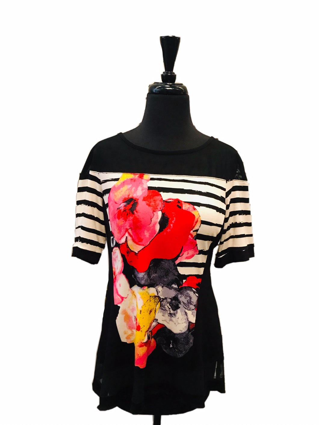 Michael Tyler Sleeveless Stripe Floral Top