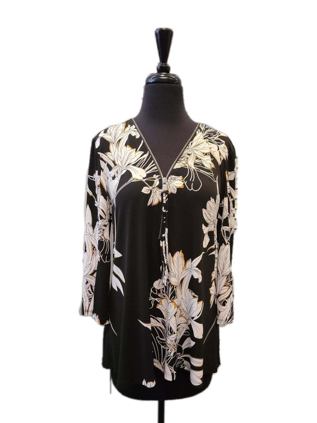Softworks Zip Front Floral Top
