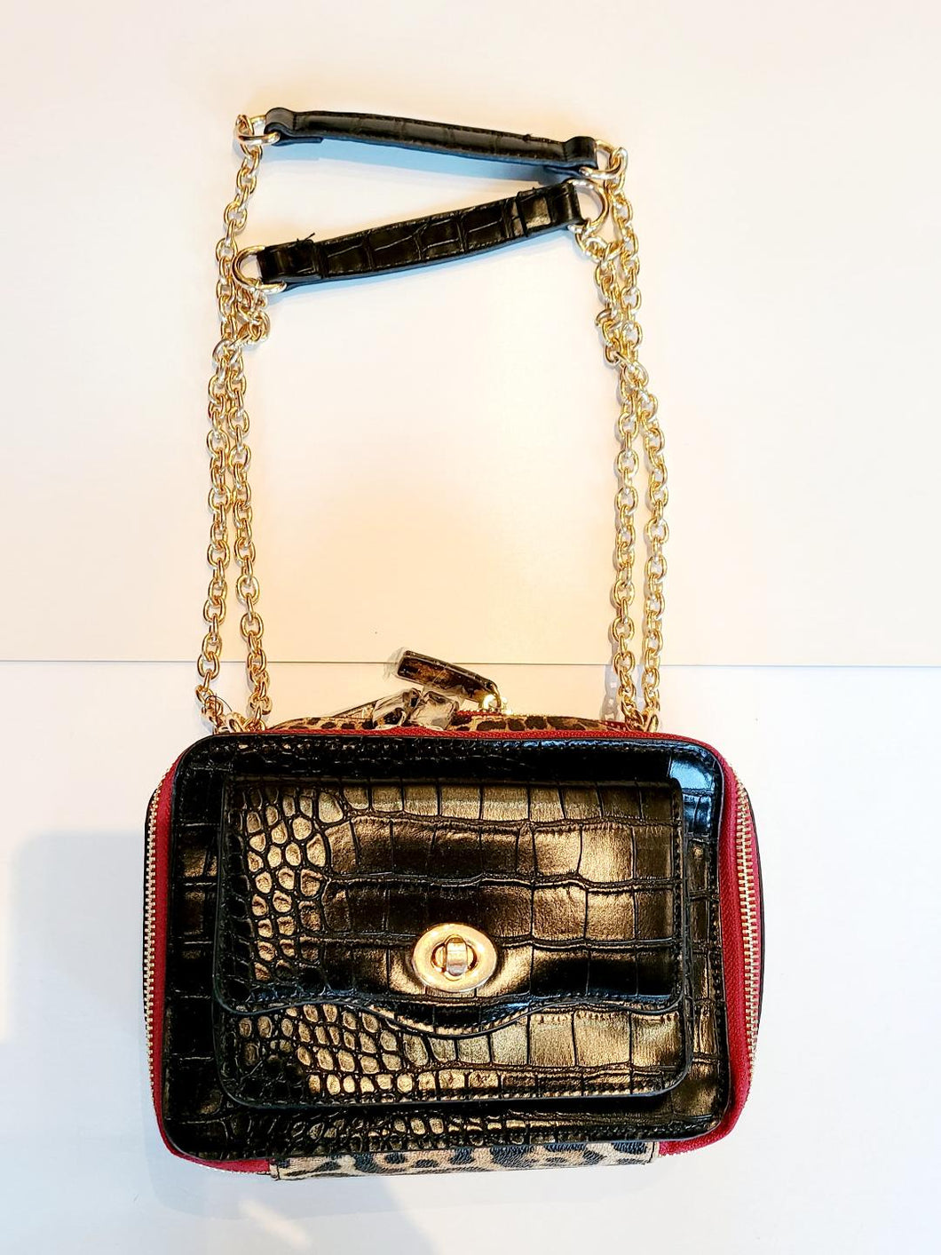 Sondra Roberts Crossbody Leopard With Chain Purse