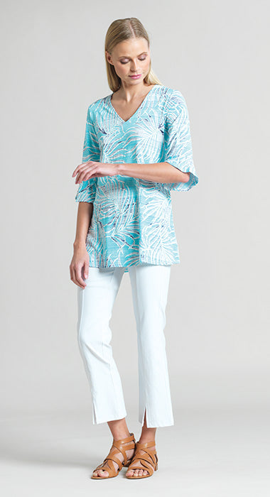 Clara Sun Woo Tropical Print V Neck Tunic With Tulip Cuff & 3D Texture
