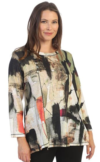 Jess & Jane Plus Natura Brushed Tunic W/Pocket