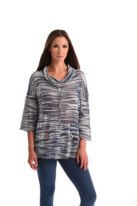 Space Dye Drop Shoulder Angel Cowl Neck Lightweight Pullover Sweater
