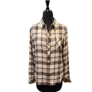 Charlie B Plaid Hi Low Round Hem Blouse