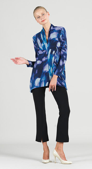 Clara Sun Woo Brush Print Lightweight V Neck Tunic Sweater