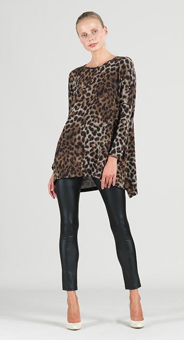 Clara Sun Woo Cheetah Print Lightweight Boyfriend Tunic Sweater