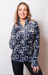 Sno Skins Velour Zip Neck Animal Print