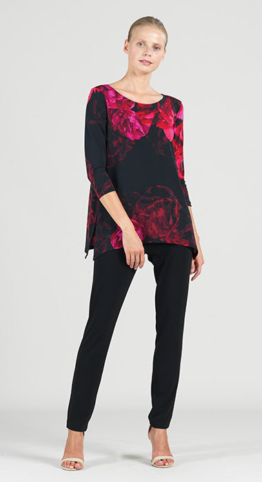 Clara Peony Print Tunic With Side Vents