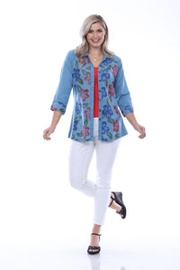 Plus Size Parsley & Sage Parsley Embroidered Flower Shirt