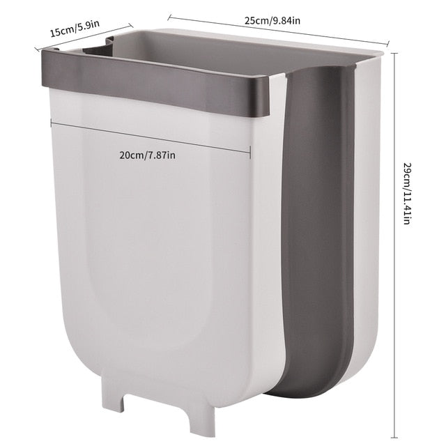 Hanging Trash Can Wall Mounted Folding Kitchen Cabinet Door