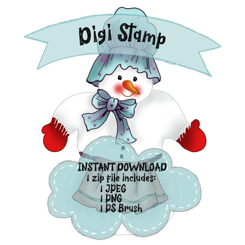 Snowman with Bonnet digi stamp