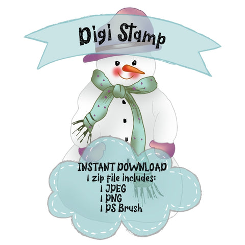Snowman with Hat digi stamp