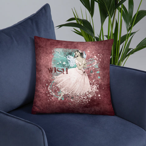 Wish | A Fairy in Pink | Throw Pillow