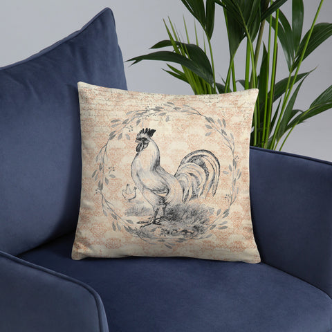 Rooster and Hens | Barnyard | Throw Pillow
