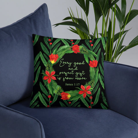 Red Berries and Green Leaves | Scripture | Throw Pillow