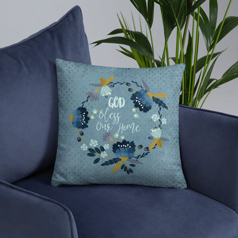 Blue Floral God Bless Our Home | Throw Pillow