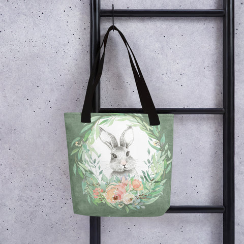 Forest Bunny and Pink Roses | Tote Bag