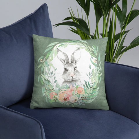 Forest Bunny and Pink Roses | Throw Pillow