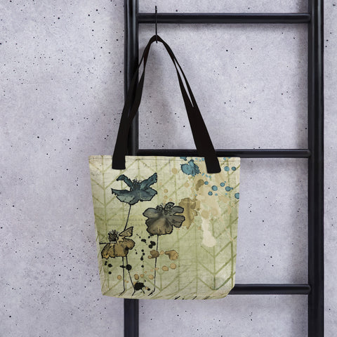Flowers and Ink | Grunge | Tote Bag
