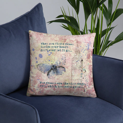 When you find a dream | Blue Butterfly | Throw Pillow