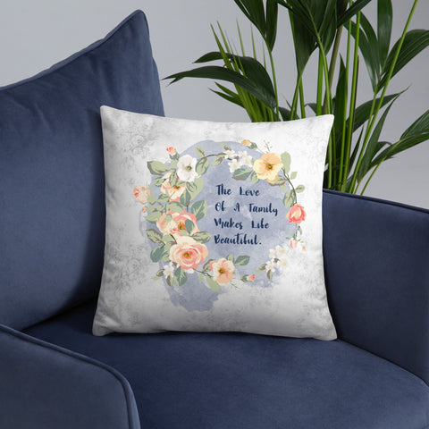 The Love of a Family | Pink Roses | Throw Pillow