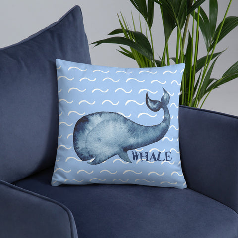 Whale in the Ocean | Nautical | Throw Pillow