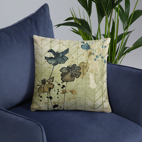 Flowers and Ink | Grunge | Throw Pillow