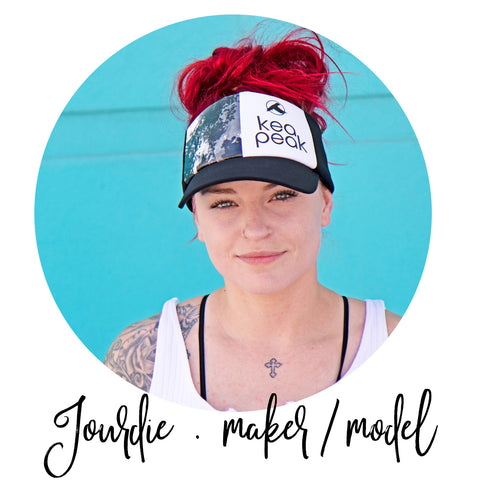 hat maker and model Jourdie wearing urban sherpa visor