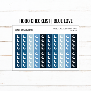 Blue Love | Hobonichi Weeks Moon Checklist - Ambitious Mimi