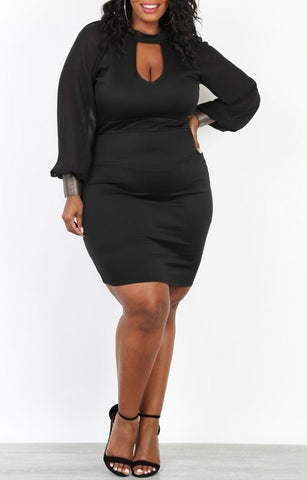 Chiffon Sleeve Body-con Dress