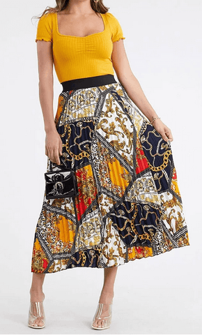 Gold Rush Pleated Skirt