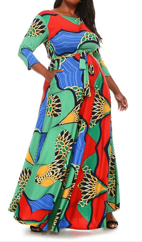 On Trend Multi Print Long Maxi Dress