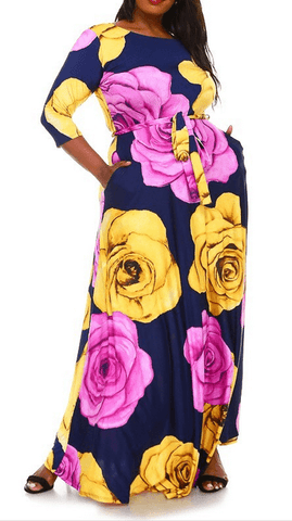 Trendy Rose Print Long Maxi Dress