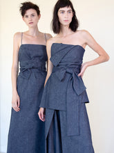 Load image into Gallery viewer, LINEN COTTON DENIM WRAP BUSTIER