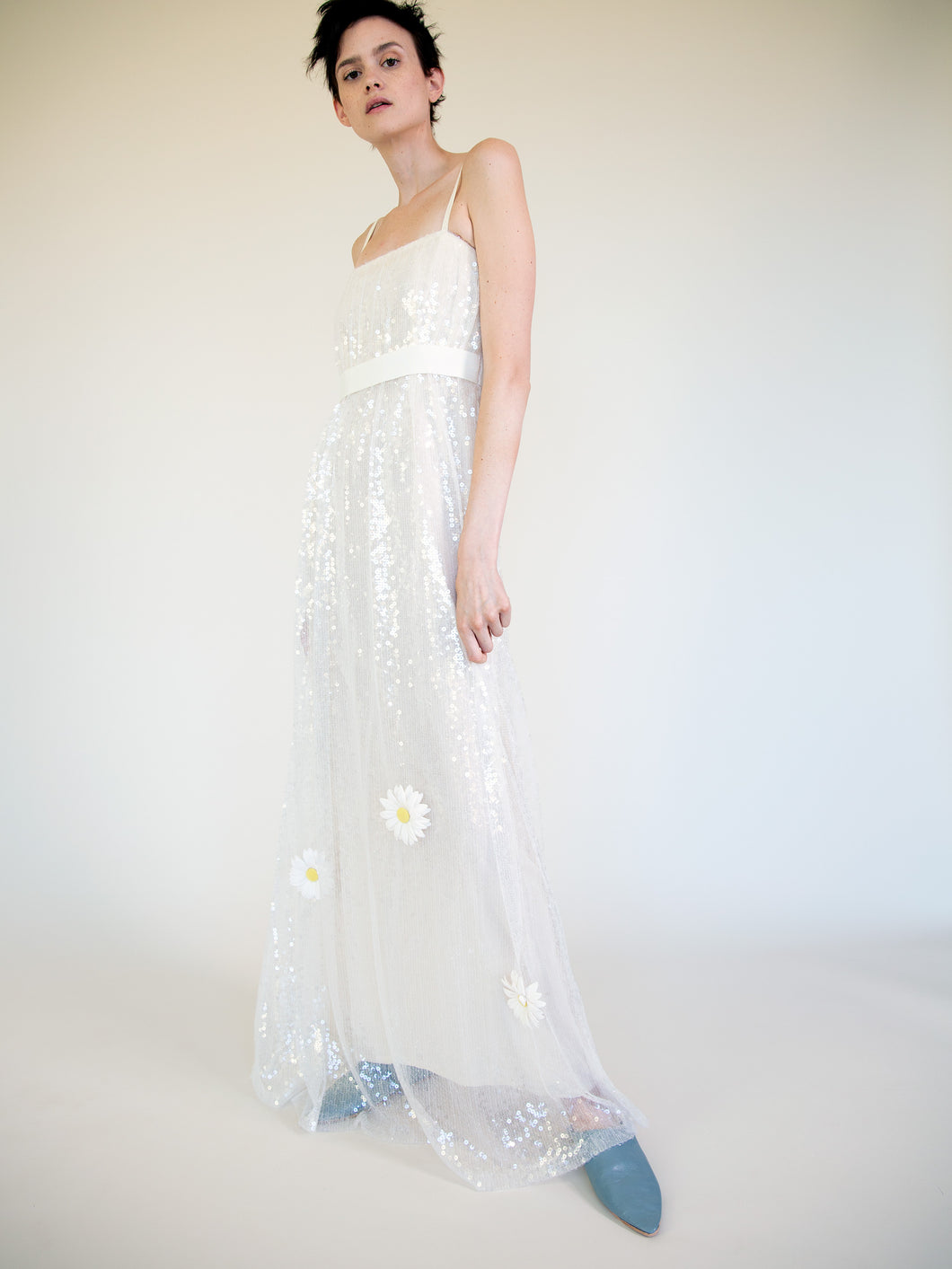 LONG SEQUIN DRESS WITH FLOWERS
