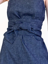 Load image into Gallery viewer, LINEN COTTON DENIM LONG SLIP WITH BELT
