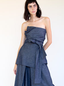LINEN COTTON DENIM WRAP BUSTIER