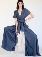 Load image into Gallery viewer, LINEN COTTON DENIM WRAP PANT