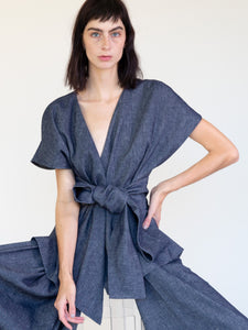 LINEN COTTON DENIM KIMONO TOP WITH BELT
