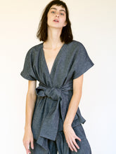 Load image into Gallery viewer, LINEN COTTON DENIM KIMONO TOP WITH BELT