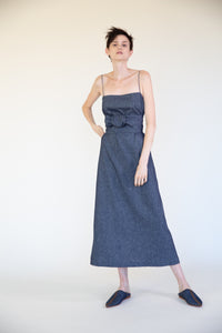 LINEN COTTON DENIM SHORT SLIP WITH BELT