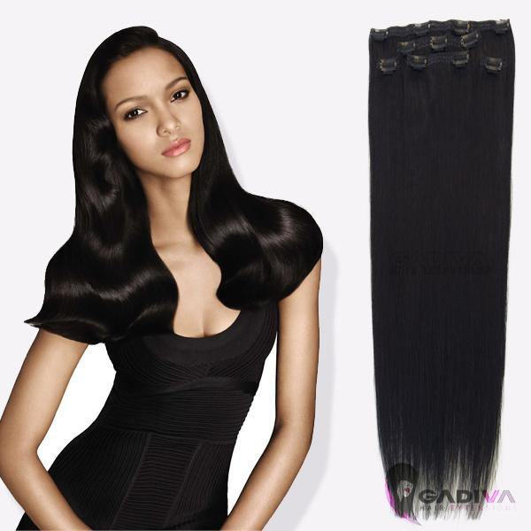 "20"" hair extensions clip in - #1 - Gadiva Hair Extensions - Blakk Hair Extensions"