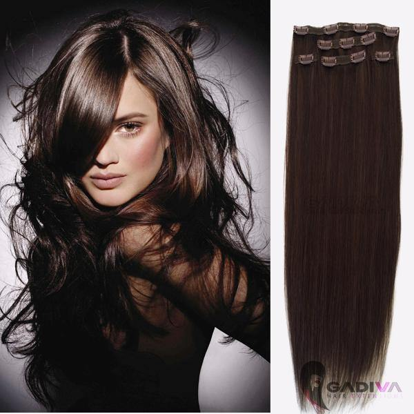 "20"" hair extensions clip in - #1B/2 - Gadiva Hair Extensions - Blakk Hair Extensions"